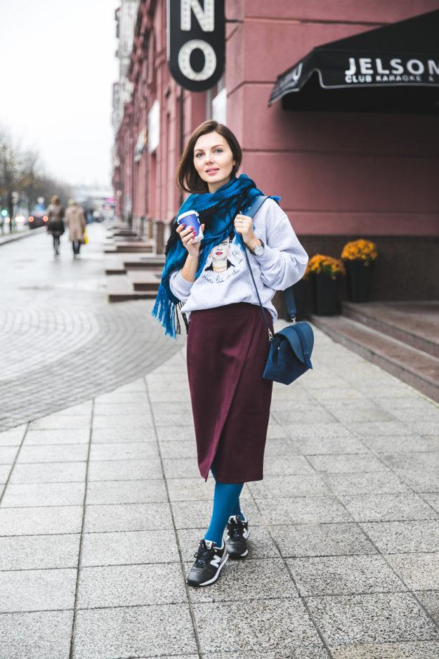 модный образ с шалью